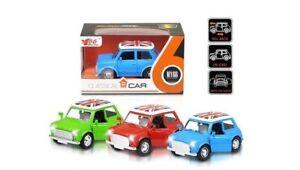 Diecast-Auto-Mini-Cooper-Classic-MY66-Pull-Back-suoni-luci-Bambini-Giocattolo