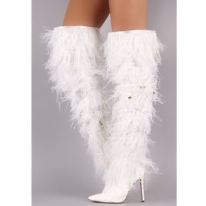 Liliana CAMPBELL White Thigh High Pointed Toe Feather Fringe Stiletto Heel Boot