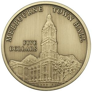 2012-Australia-Melbourne-Town-Hall-5-UNC-Coin-on-Card-ANDA