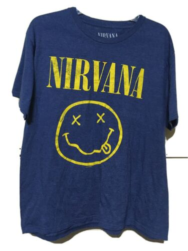 Nirvana Shirt 2015 Large T-shirt Blue Smile