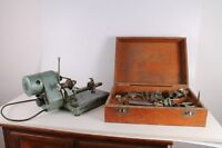 Rare Vintage Old German Made Watchmakers Lathe With Tools in Wooden Case.