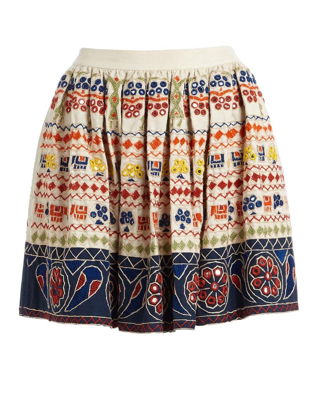 Alice + Olivia Tania Embroidered Mini Skirt Size 4 NWOT Retail  598