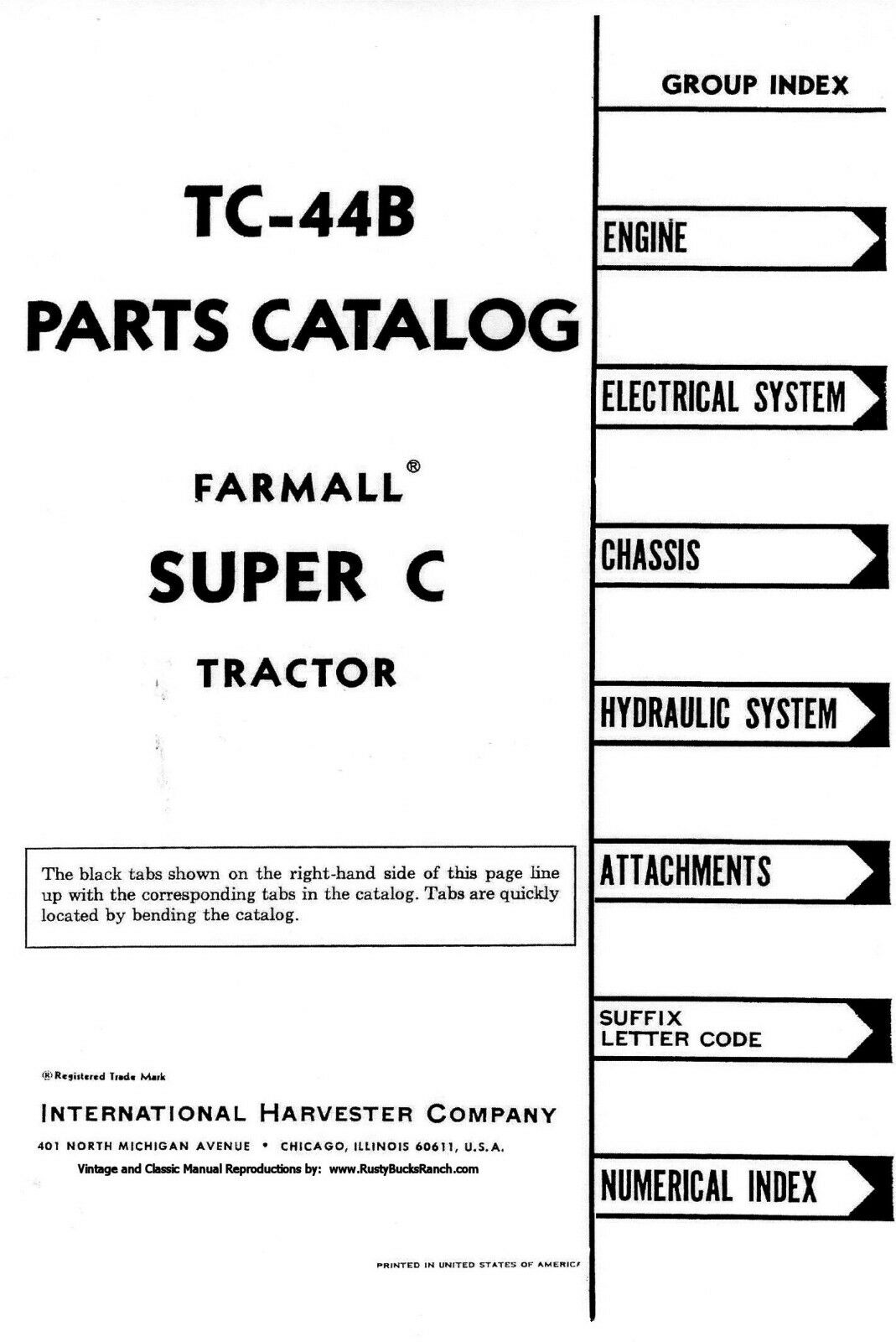 Farmall Super C Parts Manual Complete Wiring Diagrams