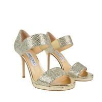 Jimmy Choo Alana Gold Glitter Sandal Pumps Heels Shoes Bnib 3 36 Rrp £555