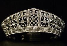 STATEMENT VINTAGE SILVER IMPERIAL ROYAL QUEEN CRYSTAL CROWN TIARA BRIDAL WEDDING