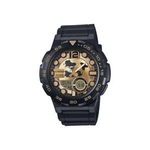 c7276fd379b Casio AEQ-100W-9A Golden Face New Mens Watch Analog Digital 100M WR ...