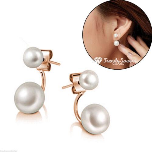 Women 18K Gold Plated Double Sided Faux Pearl Ear Stud Earrings