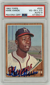 1962-BRAVES-Hank-Aaron-signed-card-Topps-320-PSA-DNA-AUTO-9-Autographed-rare