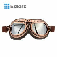 Vintage Motorcycle Scooter Aviator Cruiser Helmet Pilot Leather Copper Goggles