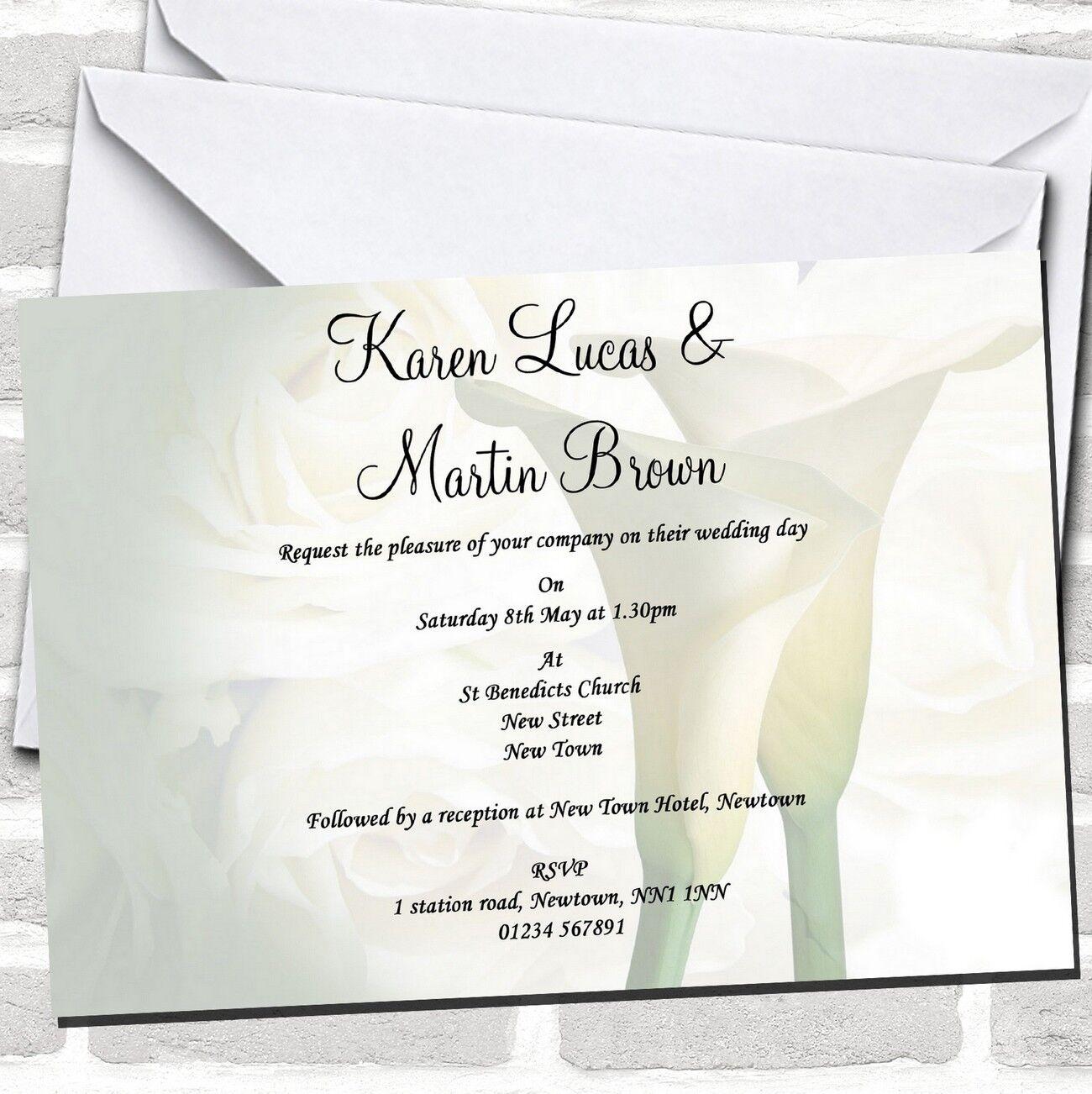 Invitaciones de boda blancoo Lily impresionante