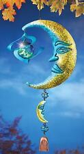 "Metal Moon Face Yard Dangler w/ Glow In The Dark Gazing Ball Wind Spinner 24.5""L"