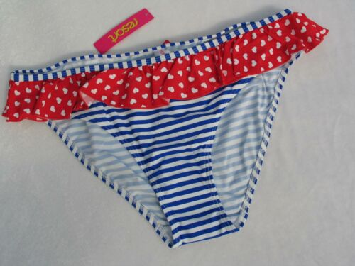 BIKINI SWIMWEAR UK SIZE 22 LADIES RED BLUE BOTTOMS FRILL BEACHWEAR BNWT