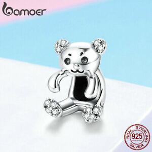 US-center-Women-CZ-Charms-S925-Sterling-Silver-Cute-Bear-Fit-Bracelet-Jewelry