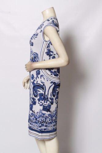 RONDINA Etcetera White Blue Ornate Knit Stretch Dress