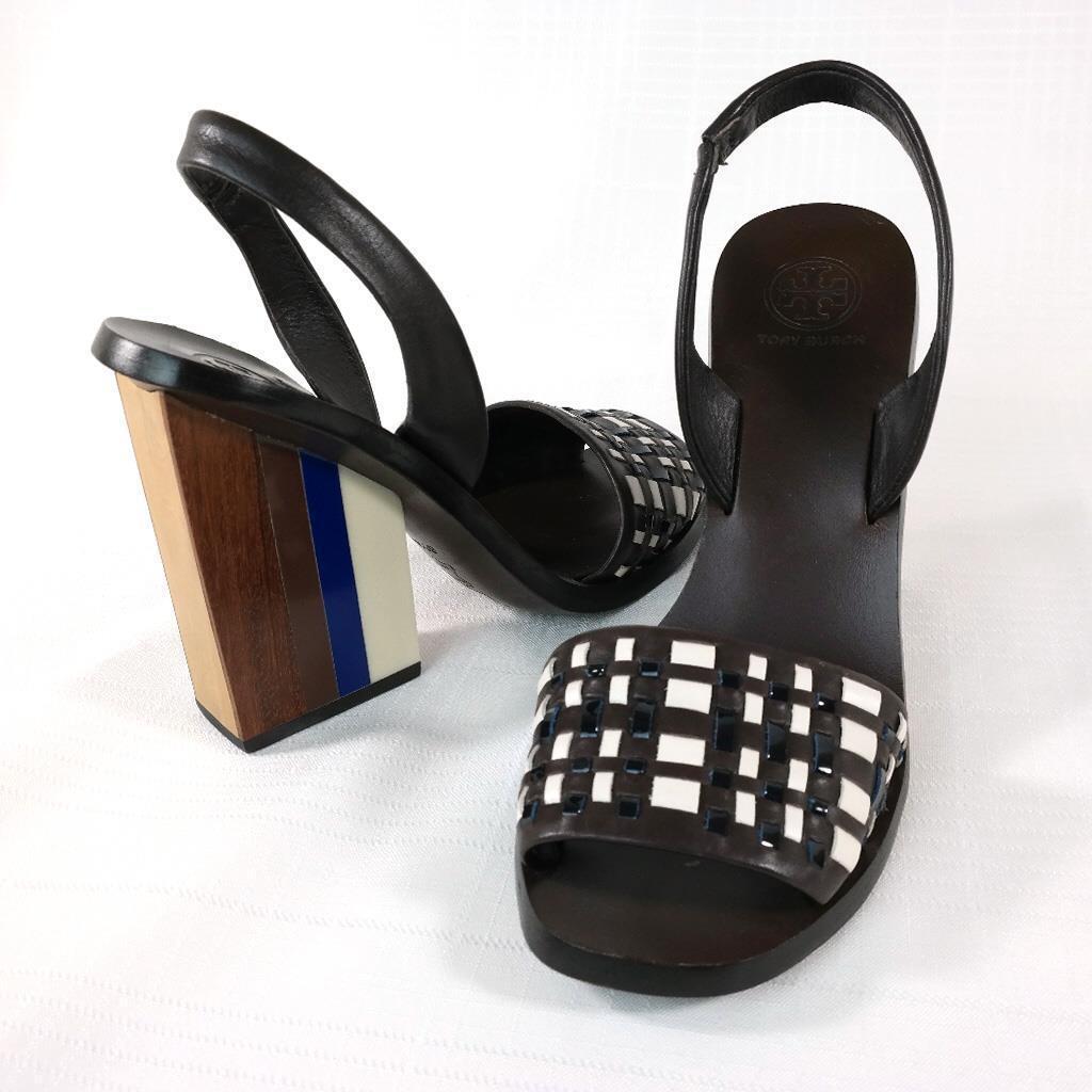 Womens TORY BURCH Emori Leather Open Toe Wooden Block Slingback Sandals 6.5 M
