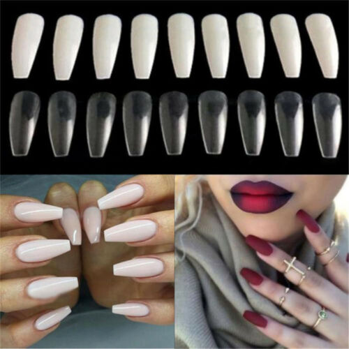 FT 100Pcs Long Nail Art Tips Coffin Shape Full Cover False Ballerina Nails Heal