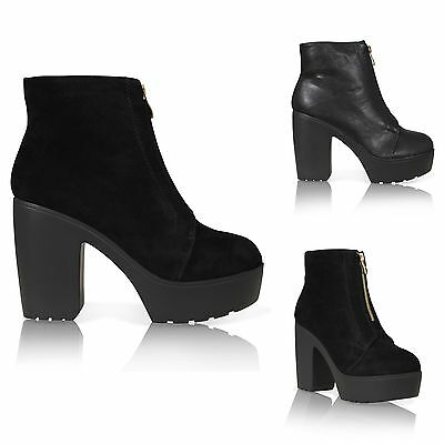 WOMENS LADIES  PLATFORM CLEATED SOLE CHUNKY BLOCK HEEL ANKLE BOOTS SIZE 3-8