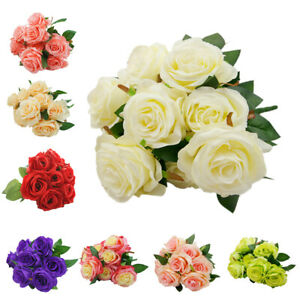 Large-9-HEADS-Artificial-Rose-Silk-Flowers-Fake-Floral-Valentines-Wedding-Decors