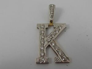 9ct-YELLOW-GOLD-STONE-SET-K-PENDANT-LARGE-LETTER-PENDANT-NEW-OLD-STOCK