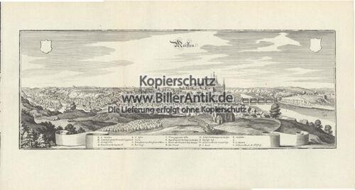 Meissen Porzellanmanufaktur Götterfelsen Burgberg Kupferstich Merian O 0145