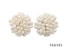 4×5mm White Oval Rice Shape Earrings Freshwater Pearl Studs Clip-on Ear Clamp