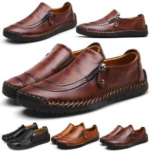 Hot-Men-Casual-Work-Hand-Stitching-Zipper-Slip-On-Leather-Shoes-Loafers-Moccasin