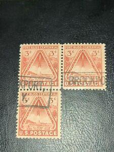 1948 3 Cent Fort Bliss Centennial Plate Number Block of Four Stamps Scott 976