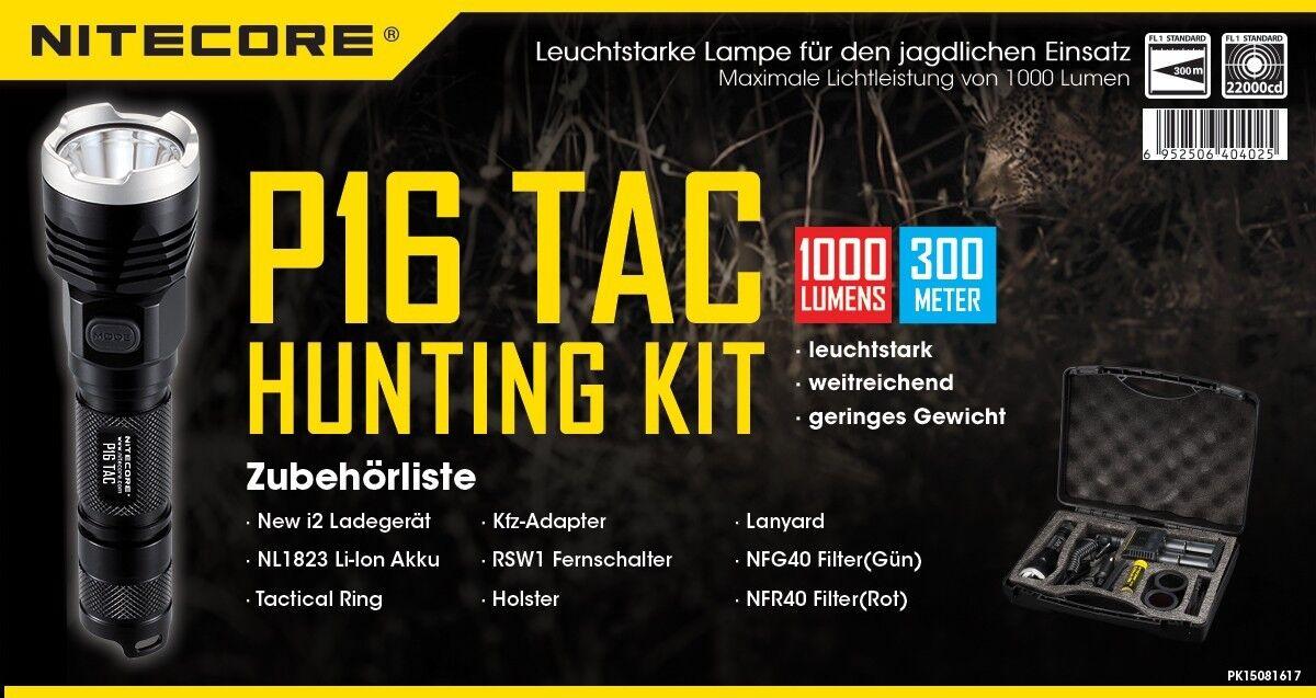 NITECORE P16 TAC Jagdset 1000lm Ladegerät Rot/Grünfilter& Fernschalter Rot/Grünfilter& Ladegerät Ni-Glo SM 014de4
