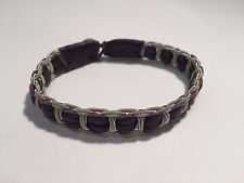 New - Pulsera SAAMI CRAFTS Piel Violeta & Plata - Leather & Silver Bracelet