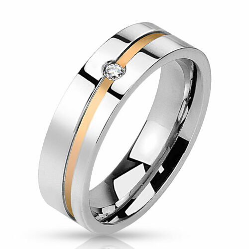 Caballeros anillo de mujer oro Black Line 10 tamaños de acero inoxidable