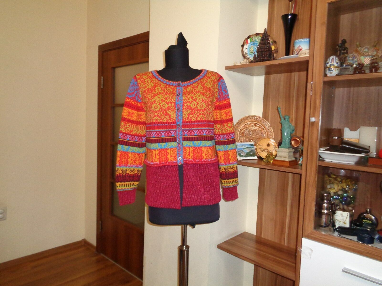 IVKO MULTIcolorD KNITTED LAMBSWOOL FLORAL STRIPED FOLKLOR PRINT CARDIGAN-