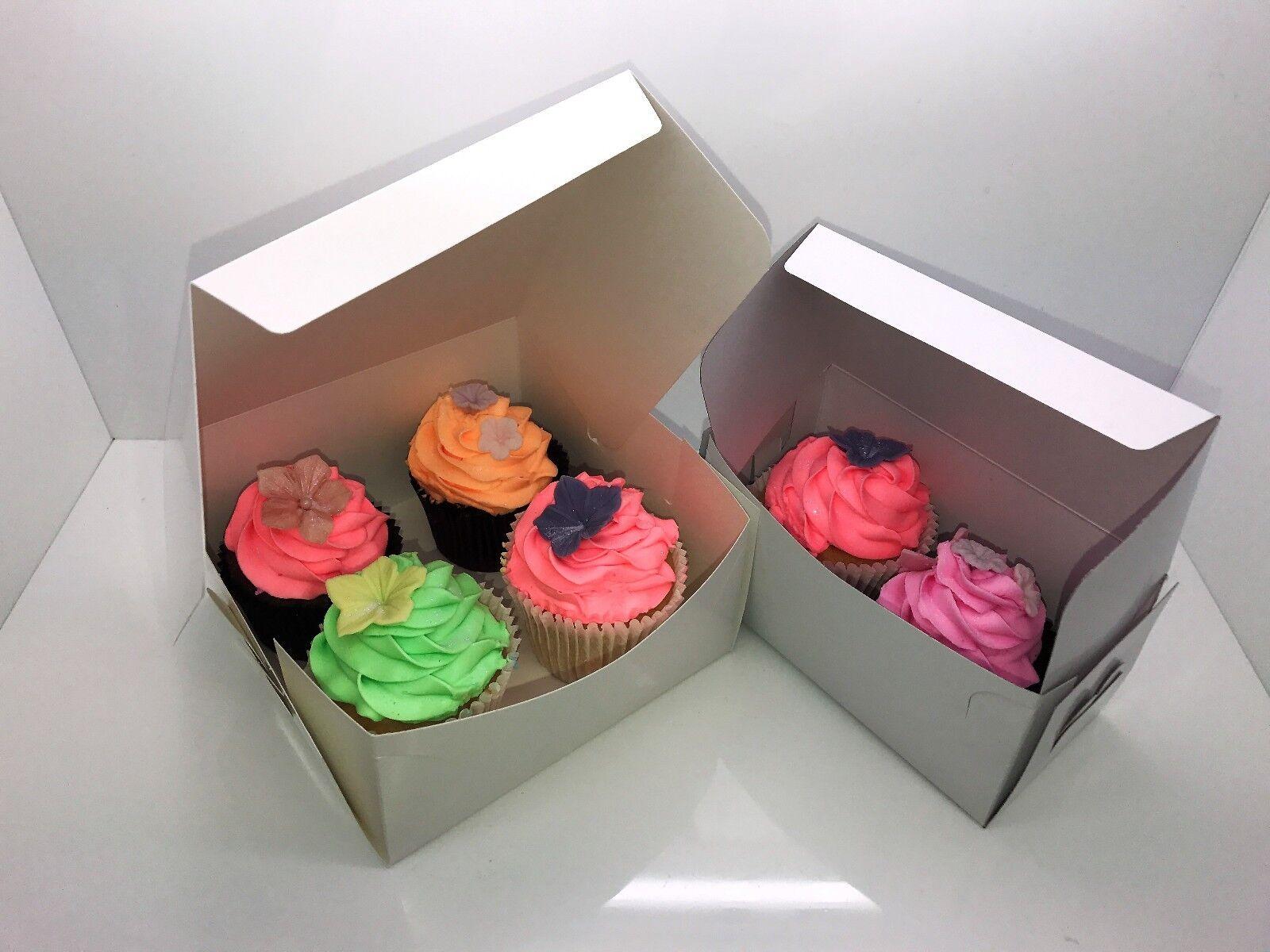 100 of Weiß Folding Cardboard Cake Box   Cupcake   Muffin Boxes 10  x 10  x 4