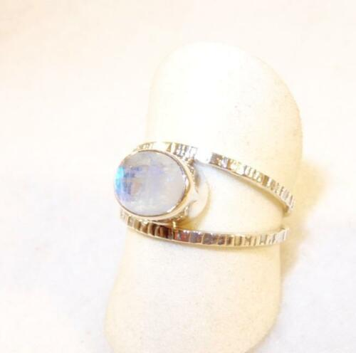 Faceted Oval Rainbow Moonstone Ring Cut-Out Band Sterling Silver Size 9