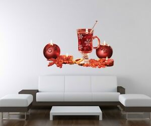 3D Adhesivo de Pared Navidad Tee Mesa Cocina Roja Decoración Mural ...