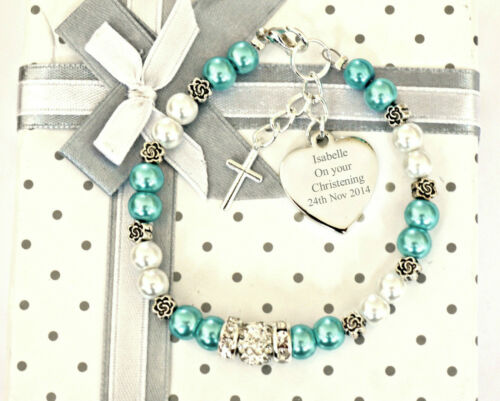 Engraved Christening//First Holy Communion// Baptism engraved Heart Bracelet Gift