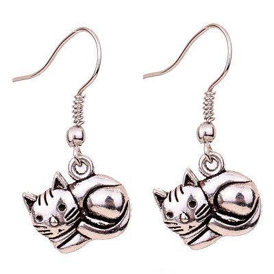 Cute Design For Girl Tibetan Silver Cat Shape Hook Ear Stud Dangle Earrings