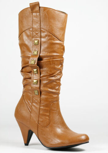 Cognac Brown Faux Leather Studded w Zipper Fashion Knee High Heel Boot Wild Diva