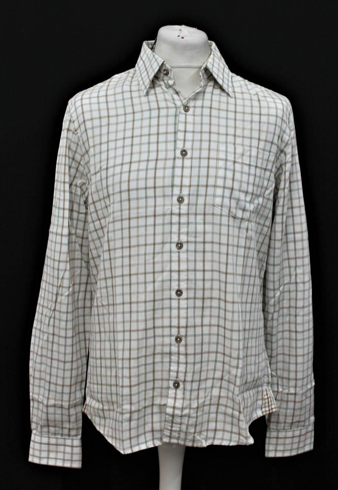 BNWT Dubarry uomo Legno Beige Multi manica lunga cotone Check camicia taglia M