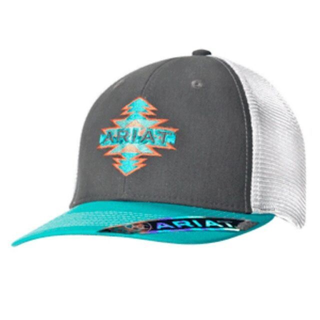 Ariat Womens Baseball Hat Cap Snapback Aztec Gray   Teal Mesh Back 1511206 4773a7581d3