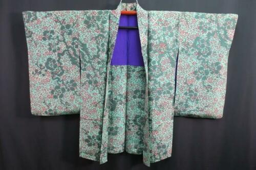 06a6932 Silk Vintage Long Japanese kimono Haori Jacket Branch Flower