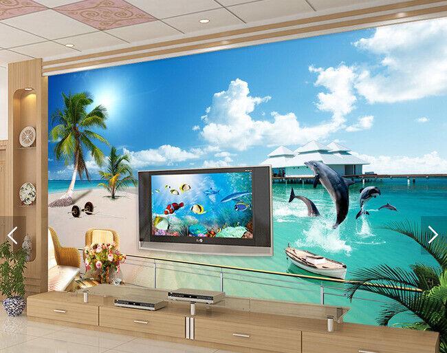 3D Beach Dolphins 77 Wall Paper Murals Wall Print Wall Wallpaper Mural AU Lemon