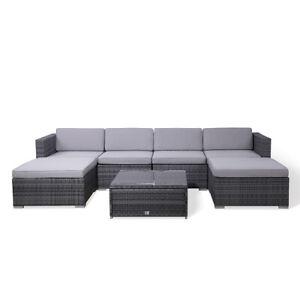 Details zu SVITA LUGANO Polyrattan Lounge Rattan Set Couch Sofa Garnitur  grau Gartenmöbel