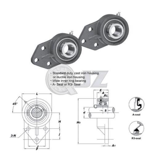 2x 7//8in 3-Bolt Flange Bracket Cast Iron UCFB205-14 Mount Bearing UC205-14+FB205
