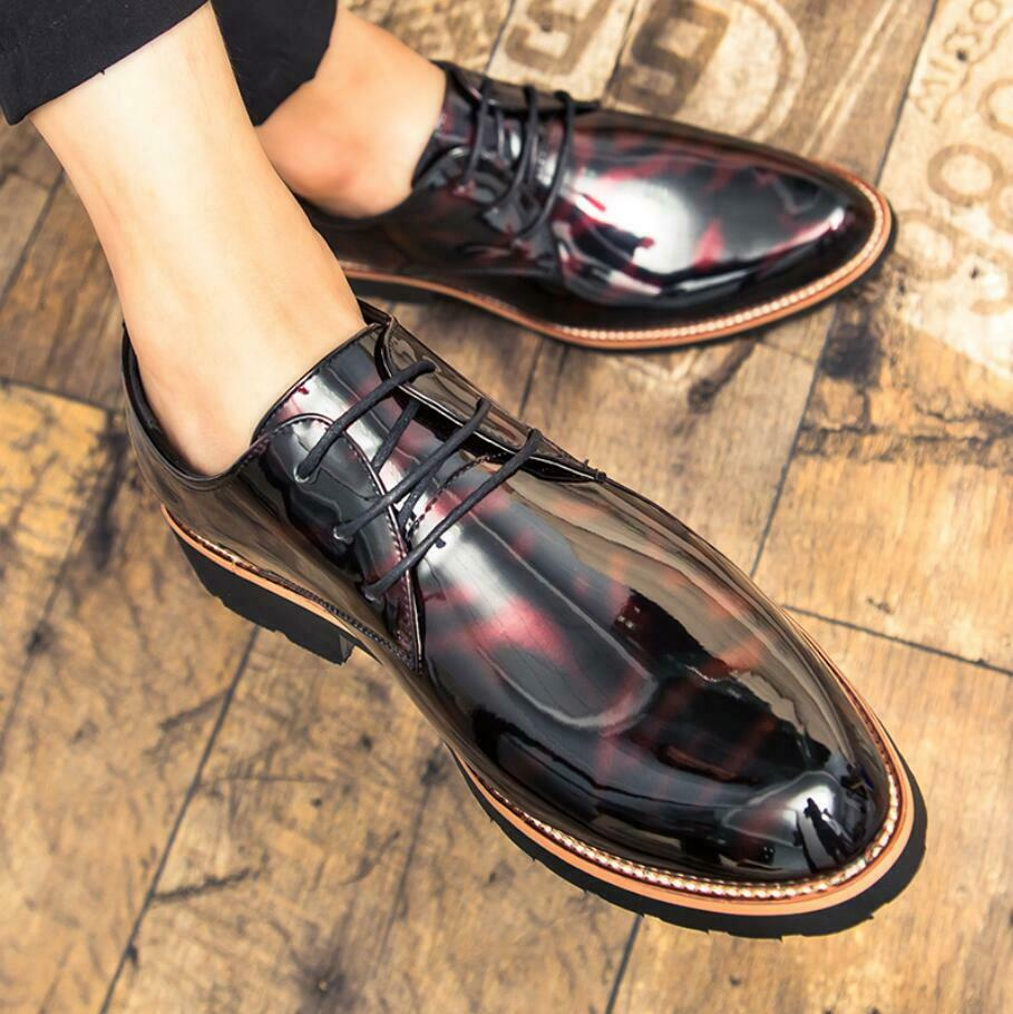 Mens patent leather Lace Up Dress formal shoes business Oxfords Casual shoes New
