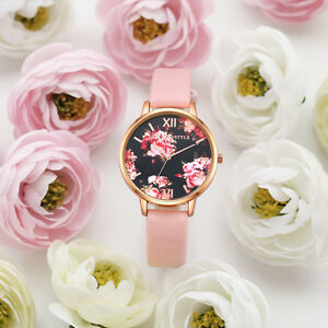 Women-039-s-Leather-Stainless-Steel-Floral-Wrist-Watch-Ladies-Analog-Quartz-Watches