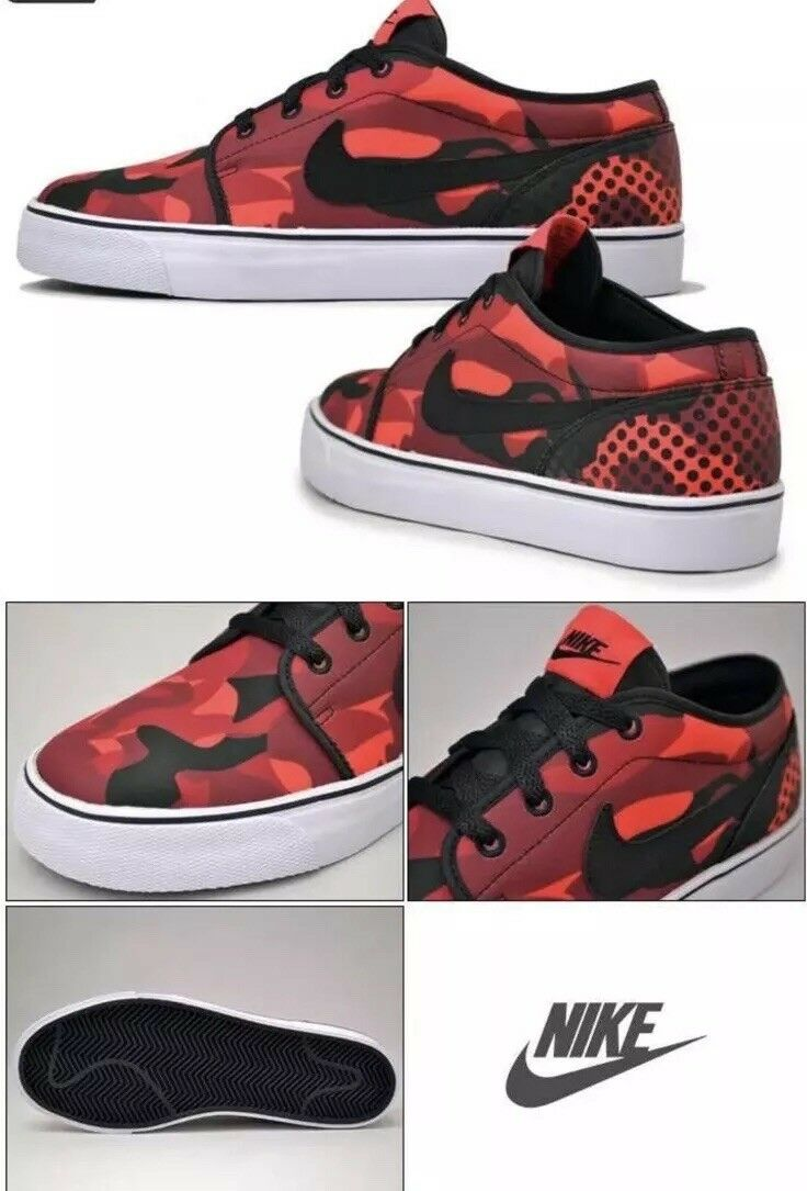 NIB NIKE TOKI LOW TEXTILE ATHLETIC CASUAL GYM SHOES SNEAKER FIRE RED MEN SIZE 12