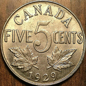 1929-CANADA-5-CENTS-COIN-Fantastic-example