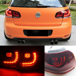 For Vw Mk6 Golf Gti 2010 2014 Full Dark Red Led Tail