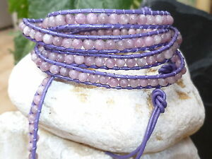 Bracelet Wrap 5 Turns Skin Purple And Stone Tourmaline