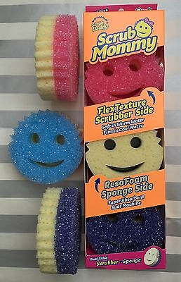 SCRUB MOMMY 3 PACK COLORS Pink Blue Purple Dual Scrubber Soft Sponge Scrub Daddy